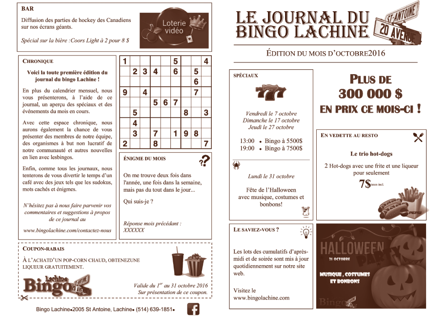 Journal du bingo Lachine