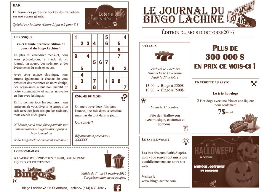 Journal du bingo Lachine