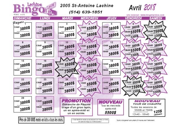 Bingo Lachine - Calendrier du mois d'avril 2018